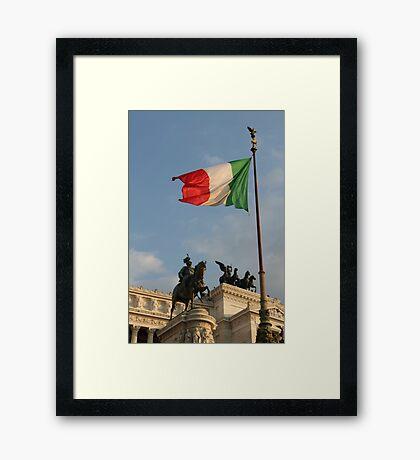 Italian Flag on Il Vittoriano Framed Print