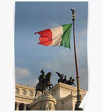 Italian Flag on Il Vittoriano Poster