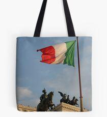 Italian Flag on Il Vittoriano Tote Bag