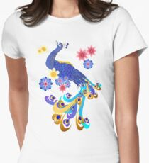 Fancy Peacock and Flowers Womens Fitted T-Shirt