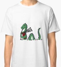 Funny Loch Ness Monster Playing Bagpipes Classic T-Shirt