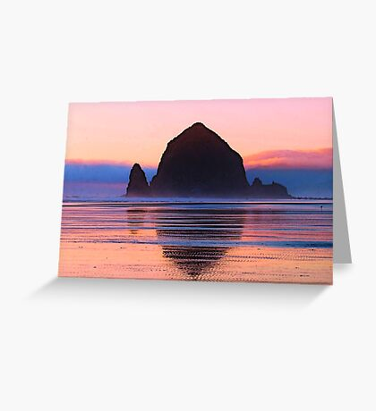 Summer Sunset at Haystack Rock Greeting Card