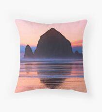 Summer Sunset at Haystack Rock Throw Pillow