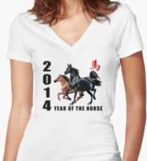 2014 Year of The Horse Women's Fitted V-Neck T-Shirt