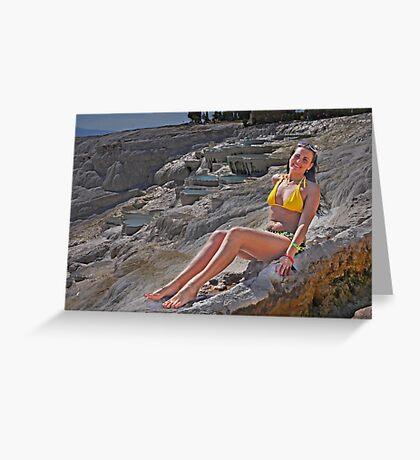The Girl in the Yellow Bikini Greeting Card