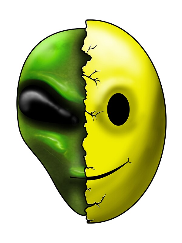 Quot Shreaded Alien Smiley Face Quot Stickers By Mdkgraphics