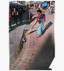 two worlds. bouddhanath, nepal Poster