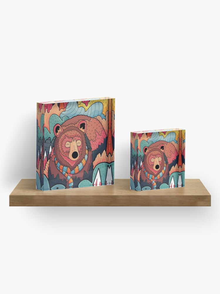 Alternate view of Winter bear forest Acrylic Block
