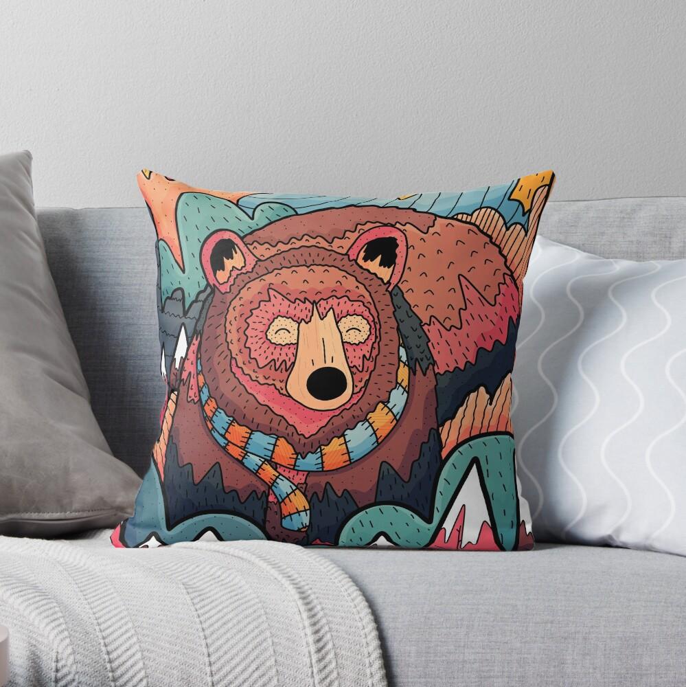 Winter bear forest Throw Pillow