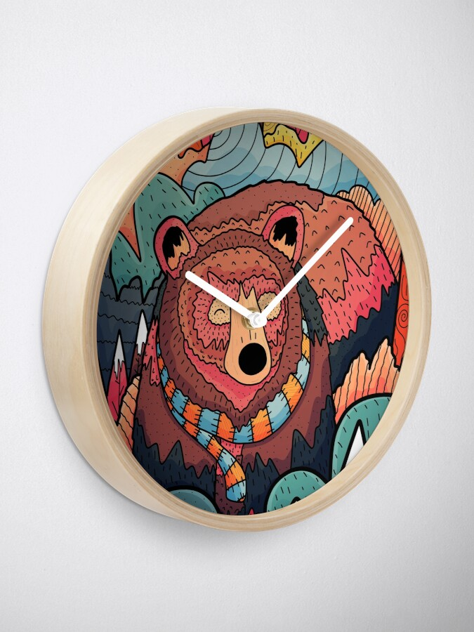 Alternate view of Winter bear forest Clock