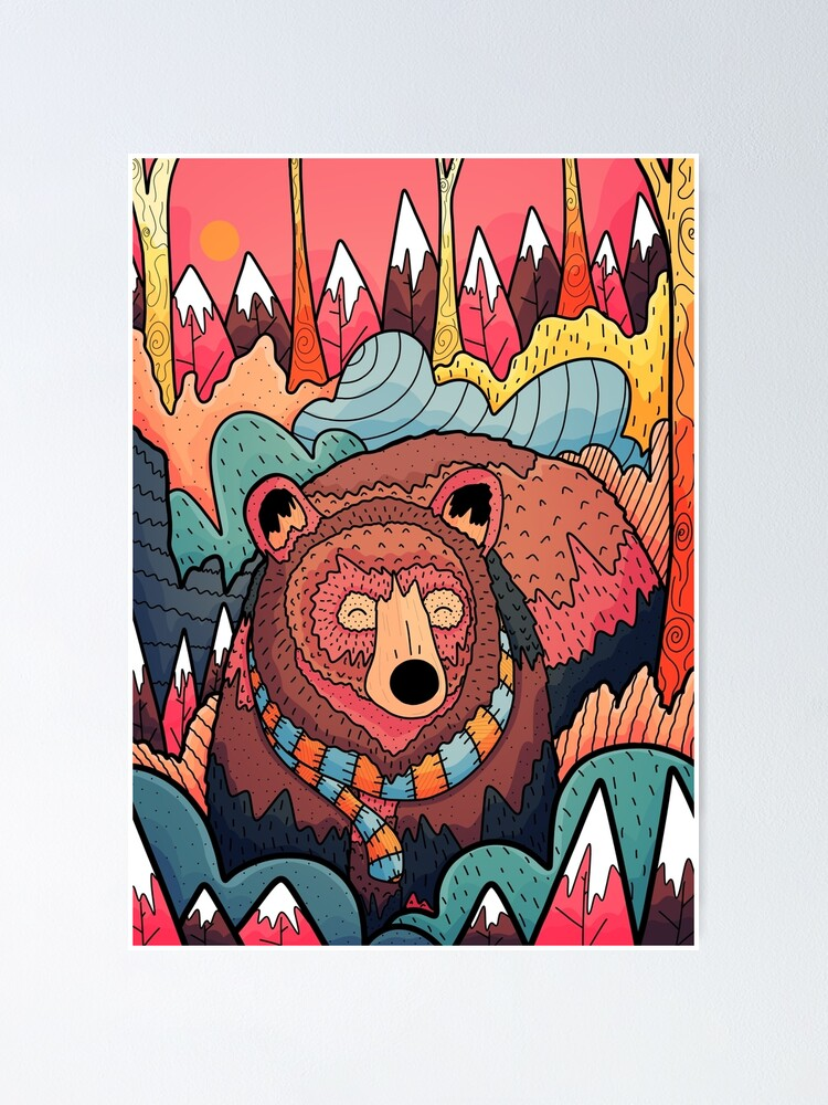 Alternate view of Winter bear forest Poster