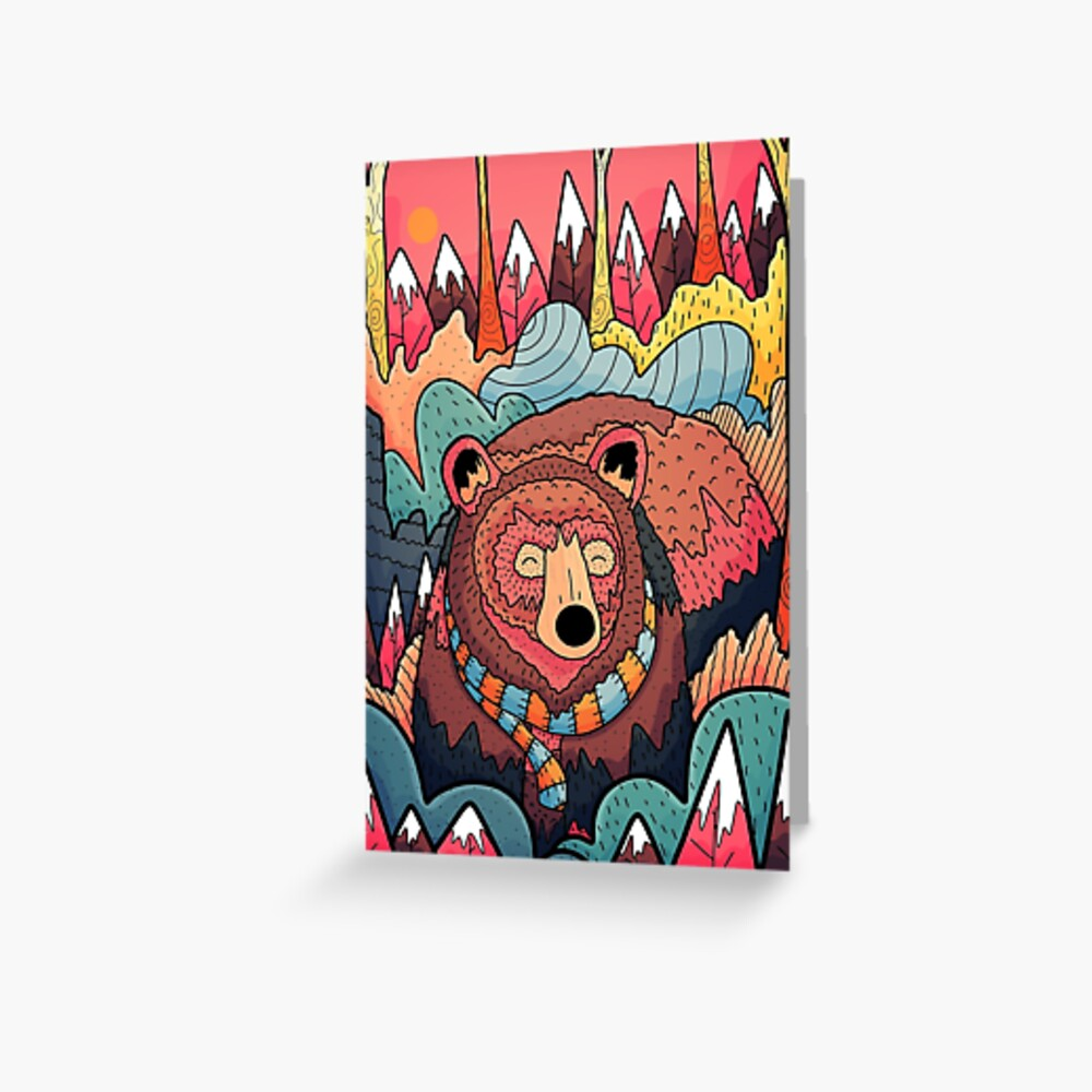 Winter bear forest Greeting Card