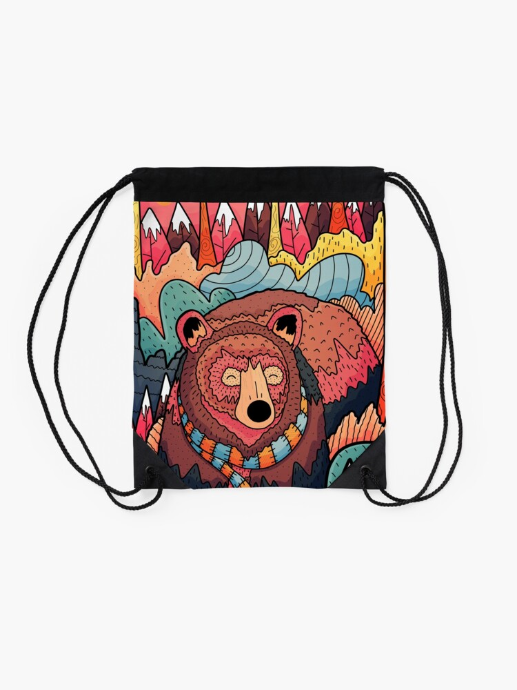 Alternate view of Winter bear forest Drawstring Bag