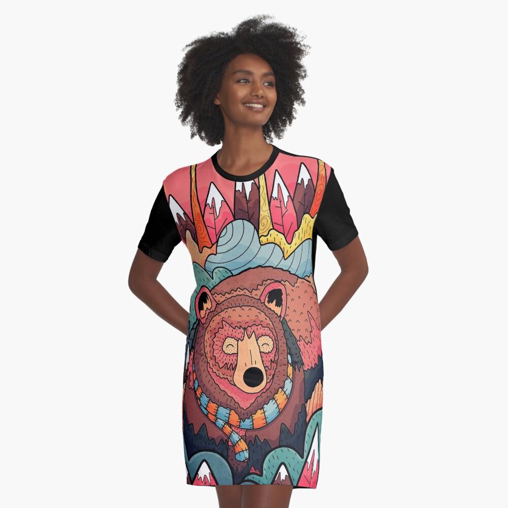 Winter bear forest Graphic T-Shirt Dress