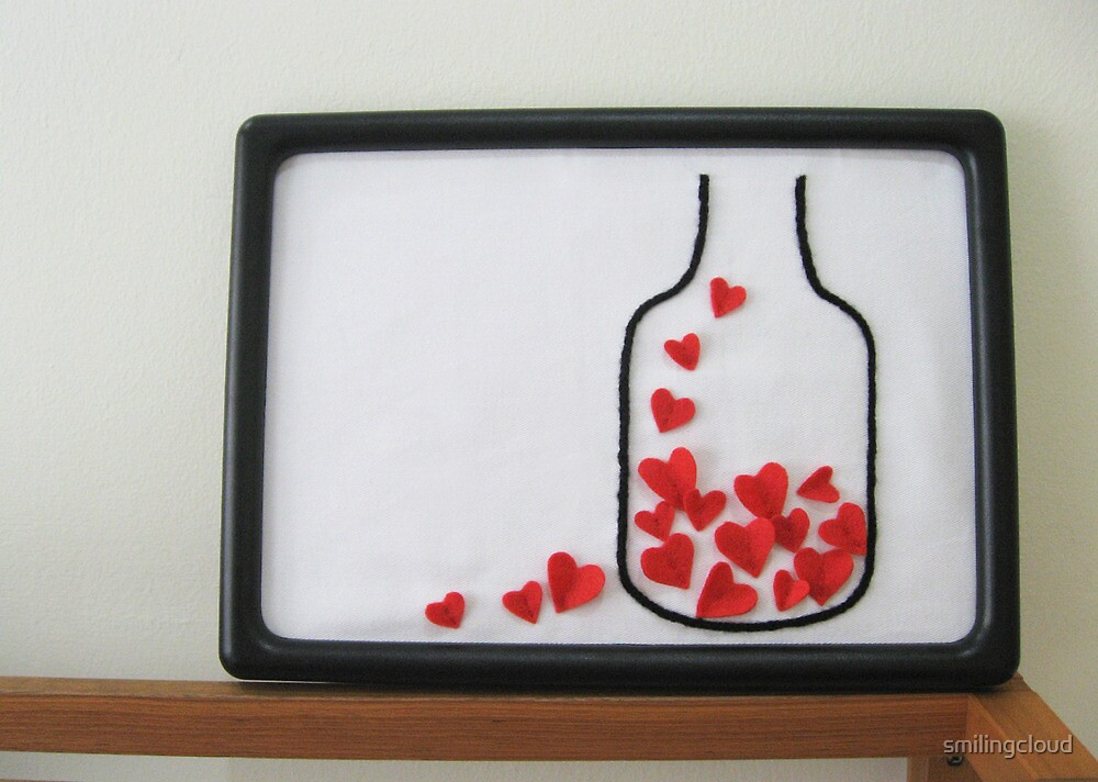 Bottle Of Love. Framed Collage Art. Yarn Embroidery by smilingcloud