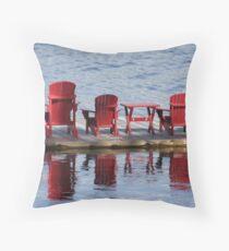 Red Muskoka Chairs - Lake Muskoka Throw Pillow