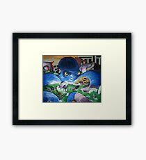 """ Radioactive Octo- Contemporary blue octopus painting"" Framed Print"