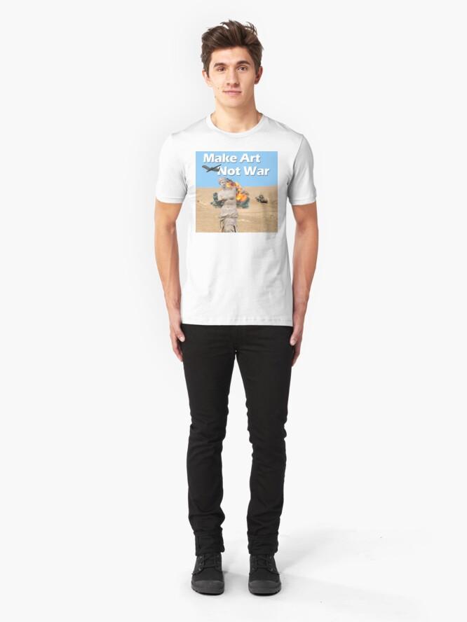 Alternate view of Make Art, Not War Slim Fit T-Shirt