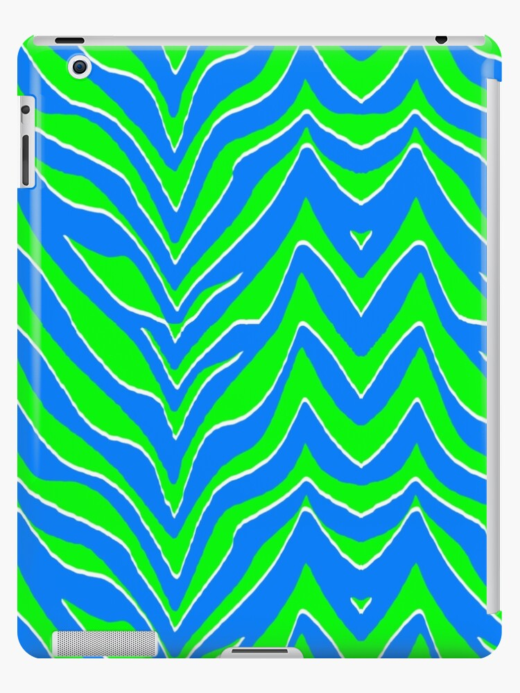 Neon Green and Blue Zebra Stripes by runninragged