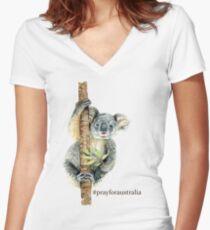 Pray for Australia Koala  Fitted V-Neck T-Shirt