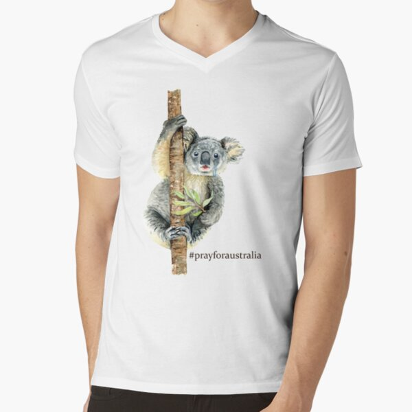 Pray for Australia Koala  V-Neck T-Shirt