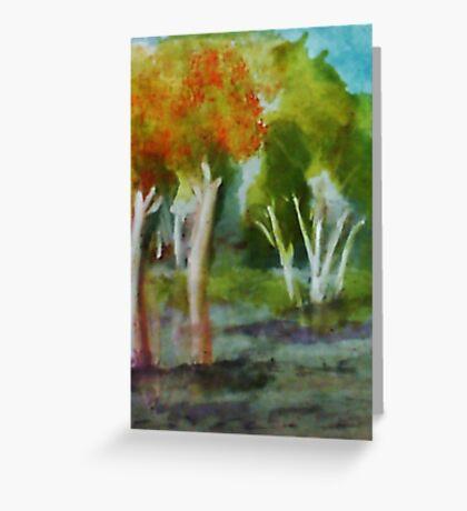 Summer trees, watercolor Greeting Card