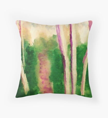 Down the wooded path, watercolor Throw Pillow