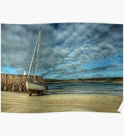 A Yacht on Braye Beach Poster
