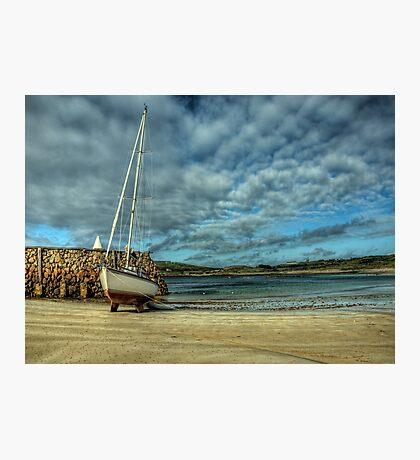 A Yacht on Braye Beach Photographic Print