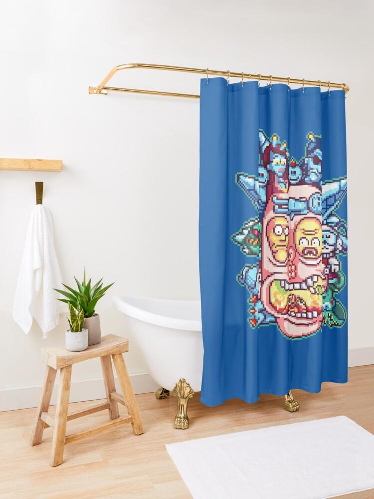 Alternate view of Pixel Rick Shower Curtain