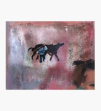 Summer vacation in the village - children play game horses Photographic Print