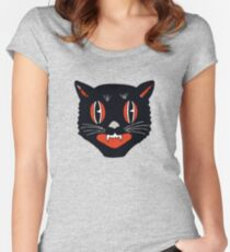Vintage Black Cat Women's Fitted Scoop T-Shirt