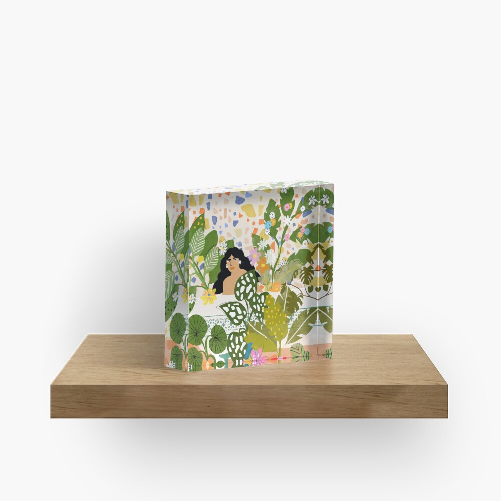 Bathing with Plants Acrylic Block