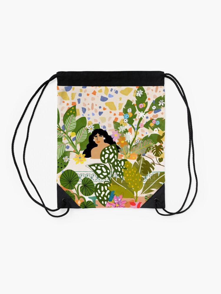 Alternate view of Bathing with Plants Drawstring Bag