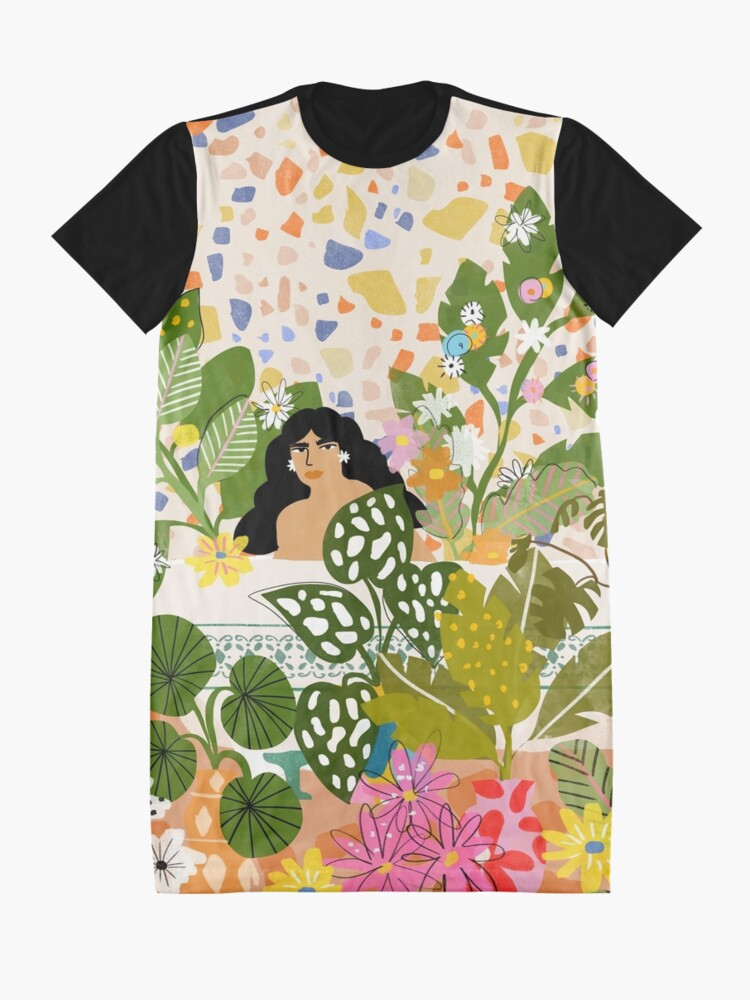 Alternate view of Bathing with Plants Graphic T-Shirt Dress