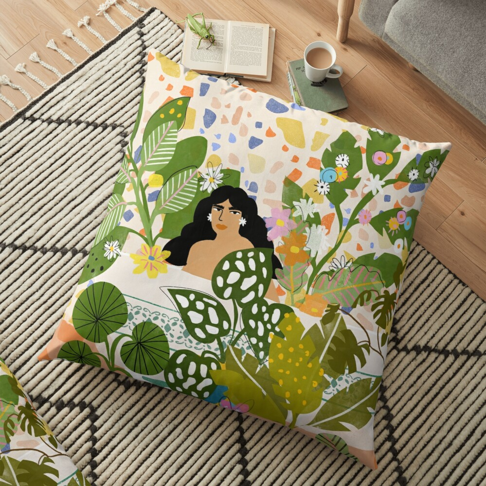 Bathing with Plants Floor Pillow