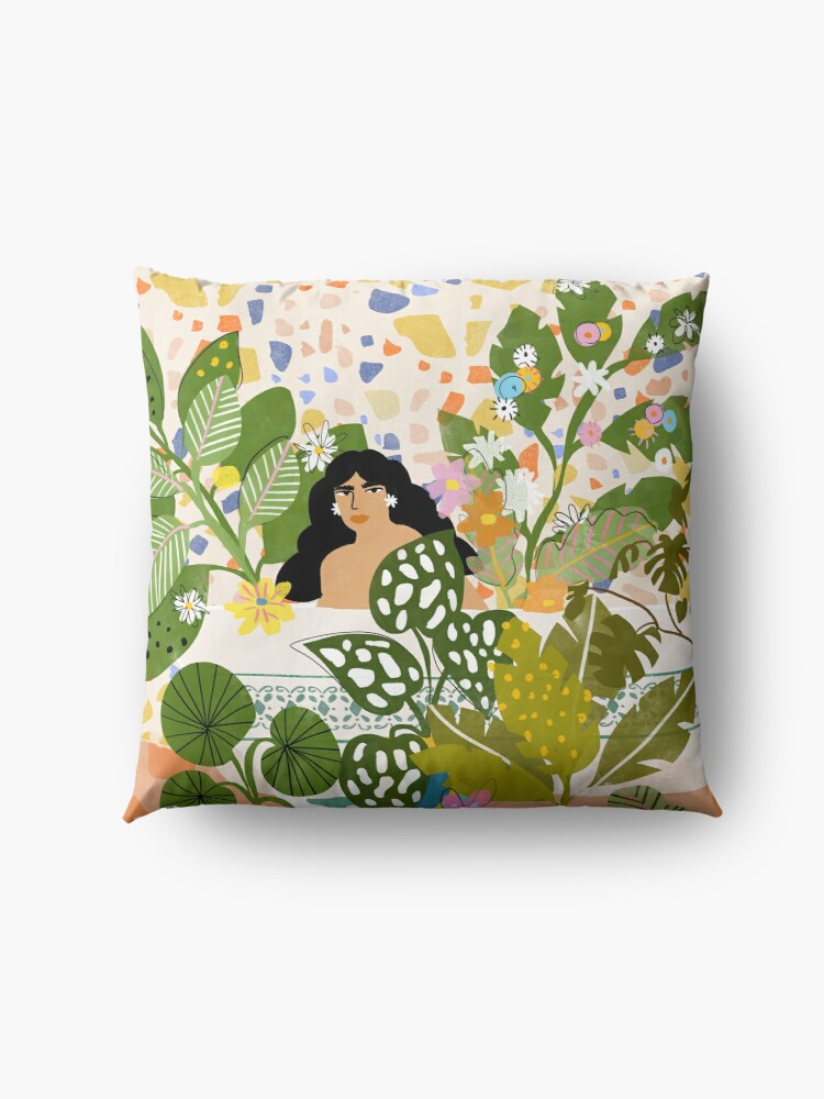 Alternate view of Bathing with Plants Floor Pillow