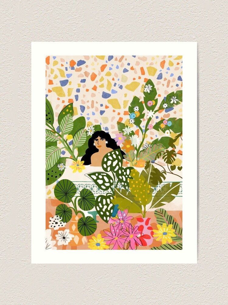 Alternate view of Bathing with Plants Art Print