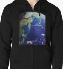 The Earth from the Space. Bering and Okhotsk Seas Area. Zipped Hoodie