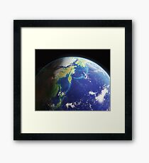 The Earth from the Space. Bering and Okhotsk Seas Area. Framed Print