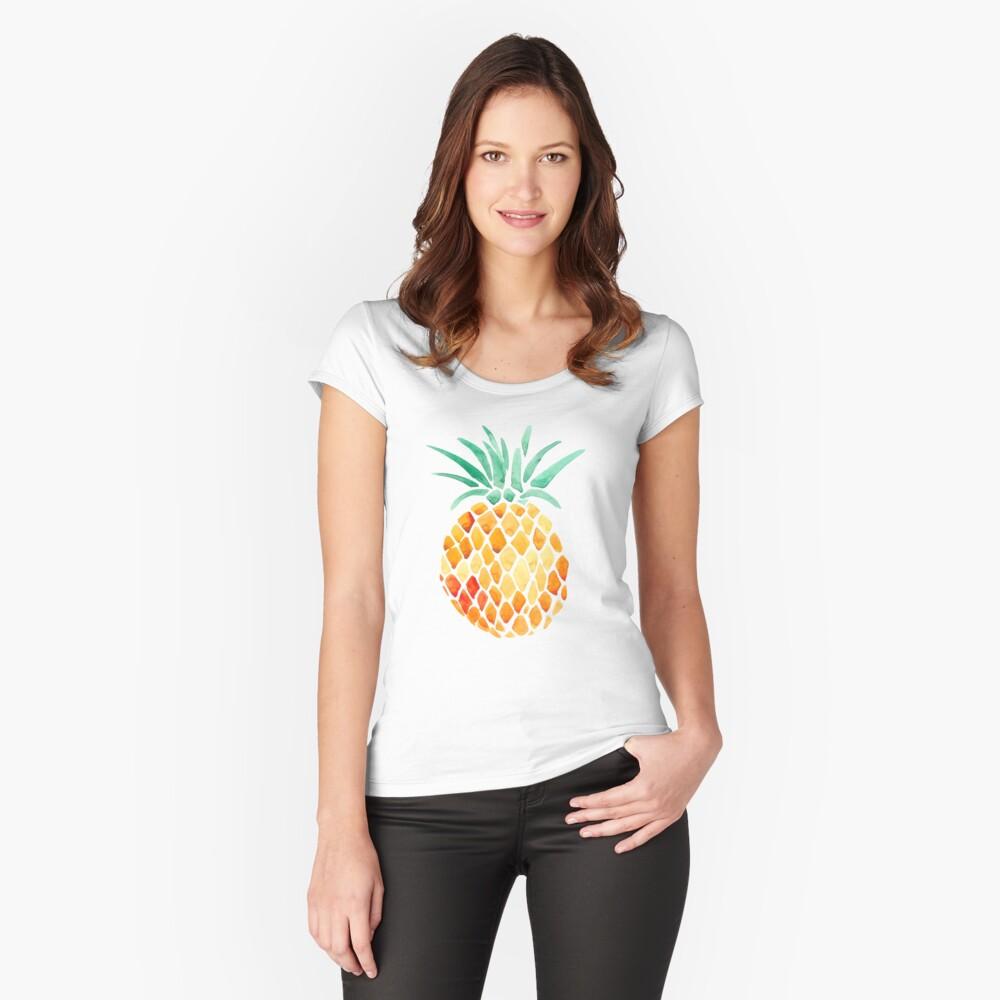 Ananas Tailliertes Rundhals-Shirt