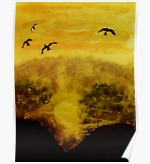 Time for birds to settle in for the night, watercolor Poster