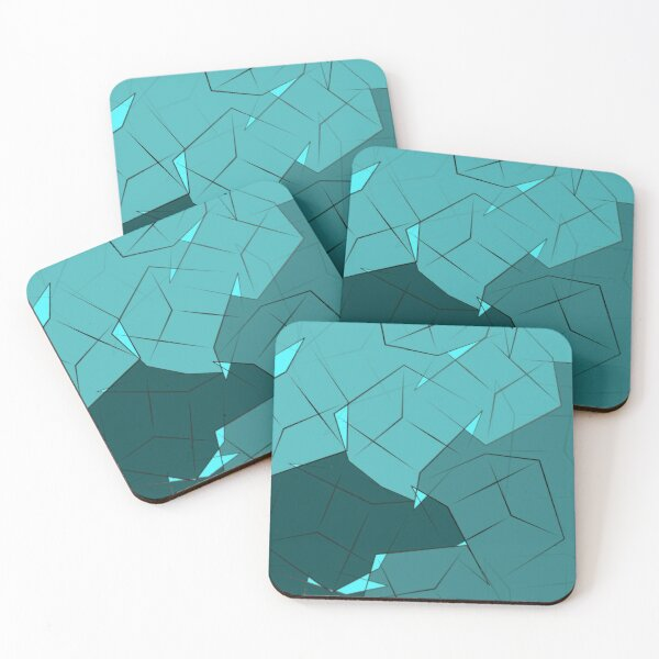 Teal & Blue 3D Boxes Coasters (Set of 4)