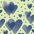 Blue Watercolor Heart on Light Green Background by Samm Poirier