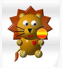 Cute lion with a lollipop Poster