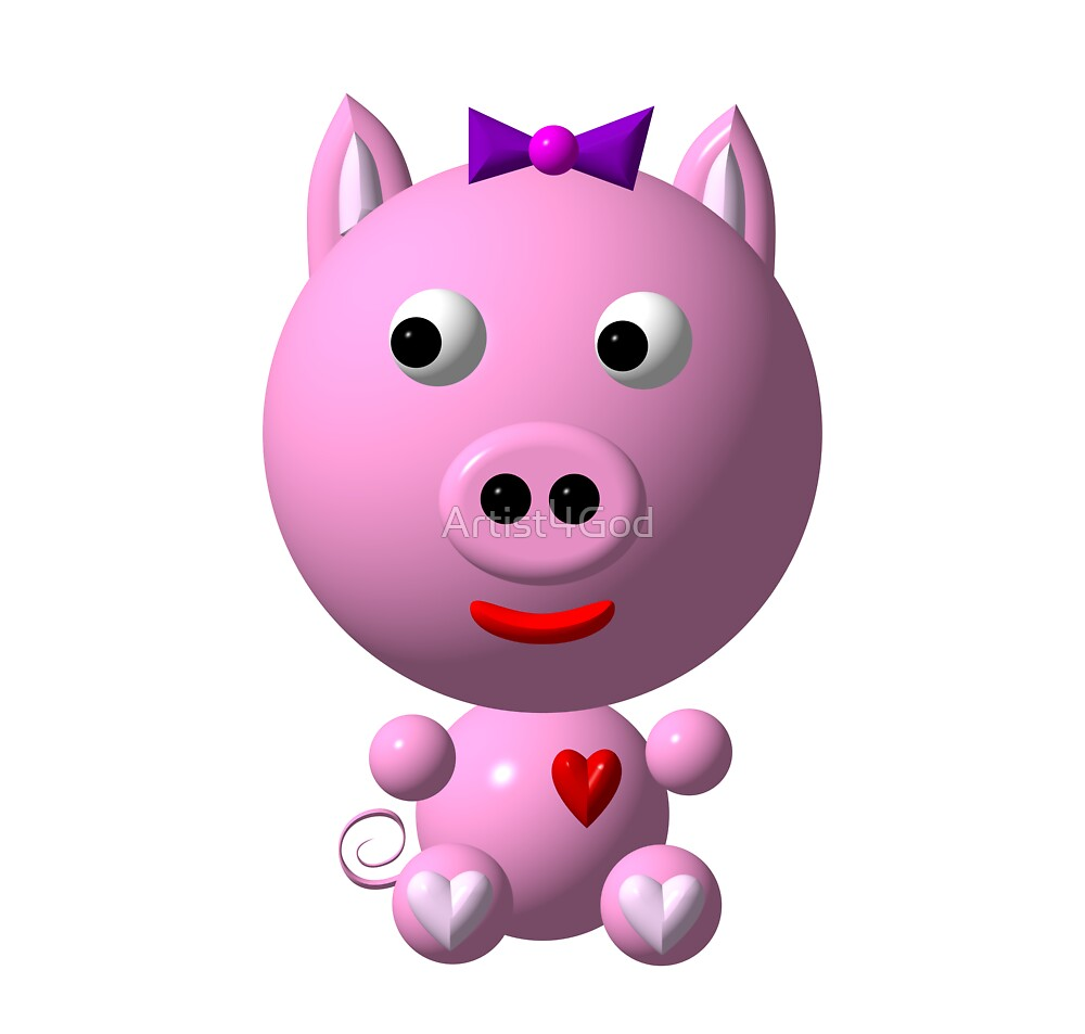 Cute pink pig wearing a purple bow by Rose Santuci-Sofranko