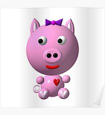 Cute pink pig wearing a purple bow Poster