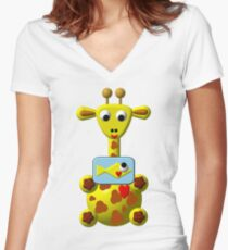 Cute giraffe with goldfish Women's Fitted V-Neck T-Shirt