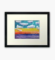 Fantasy Sunset, watercolor Framed Print