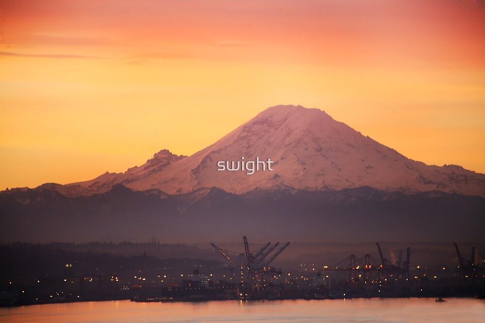 Mt. Rainier at Sunrise by swight